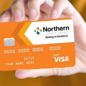 woman holding a Northern credit card