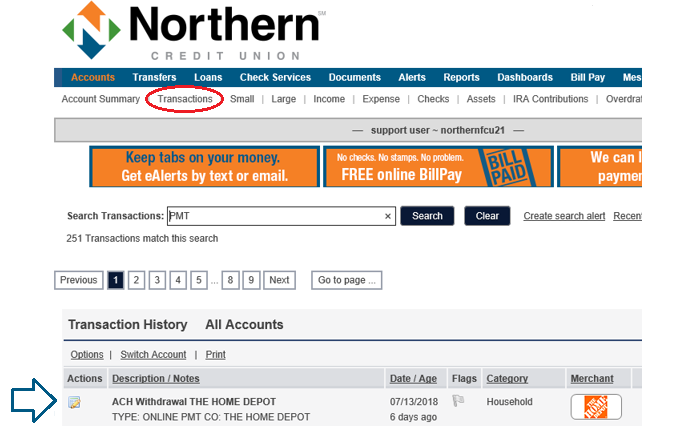 Search Bill Payments in Online Banking | Northern Credit Union