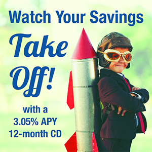 3.05& APY 12-month CD Graphic - with kid on rocket ready to take off