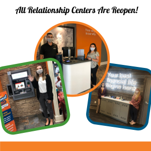 All Relationship Centers Are Reopen - photos of staff members in relationship centers waving at camera